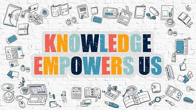 Knowledge Empowers Us Concept. Multicolor Inscription on White Brick Wall with Doodle Icons Around. Modern Style Illustration with Doodle Design Icons. Knowledge Empowers Us on Brickwall Background..jpeg